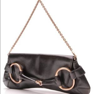 Gucci Horsebit Large Black Leather Clutch